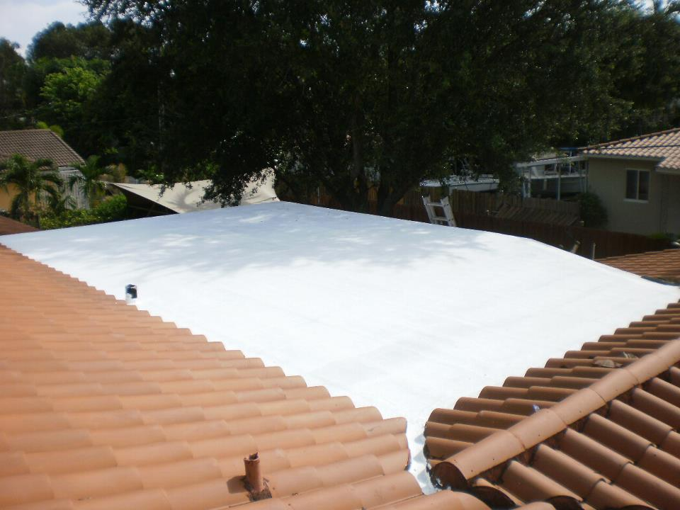 Somay Roof Coating On A Flat Roof In Miami Springs, Fl